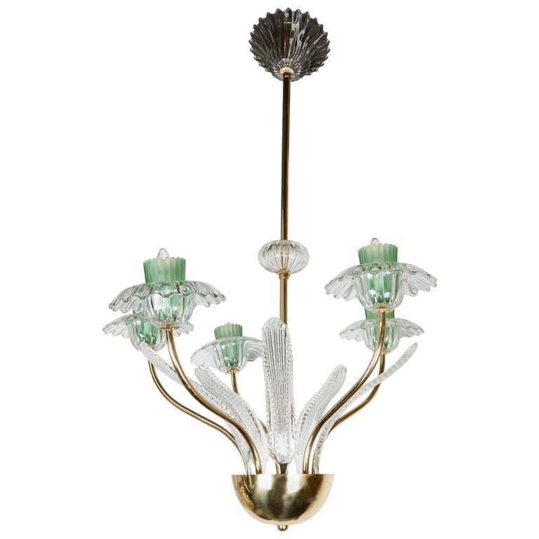 Italian, 1950s Murano Glass and Brass Chandelier