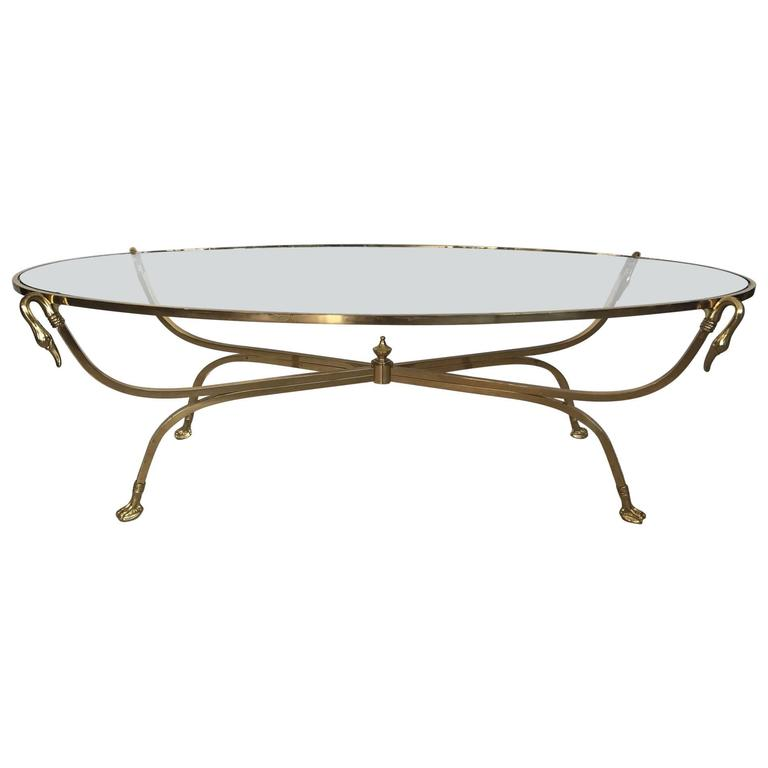 Italian Brass Swan Coffee Table, 1970s