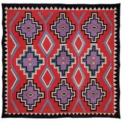 "Large Native American Germantown Weaving, Navajo, 19th Century - 12'4"" x 12'6"""