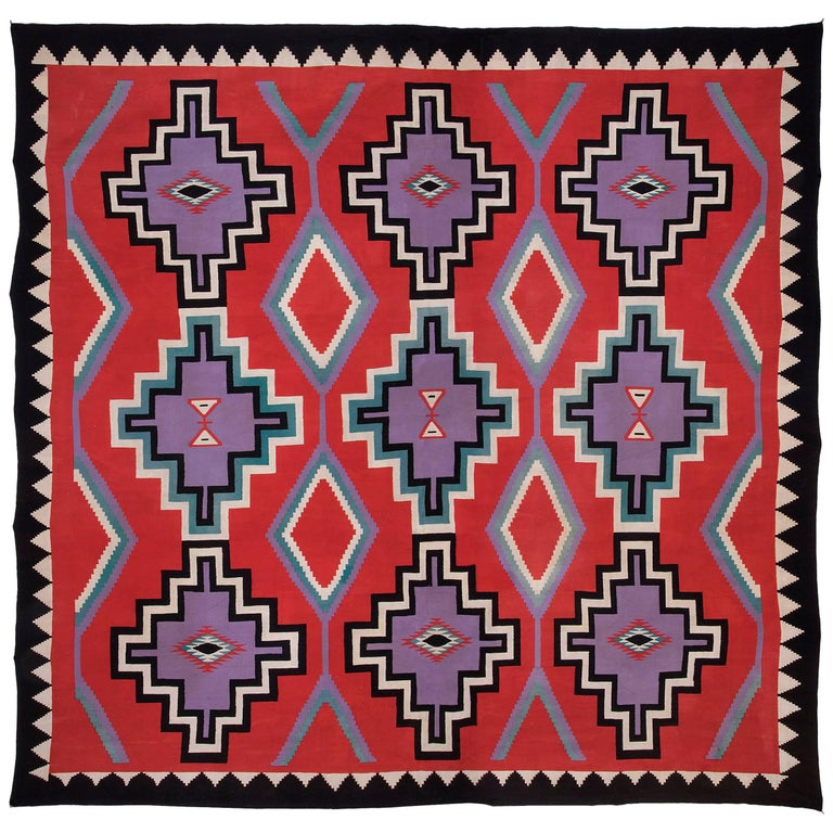 "Large Native American Germantown Weaving, Navajo, 19th Century - 12'4"" x 12'6"""