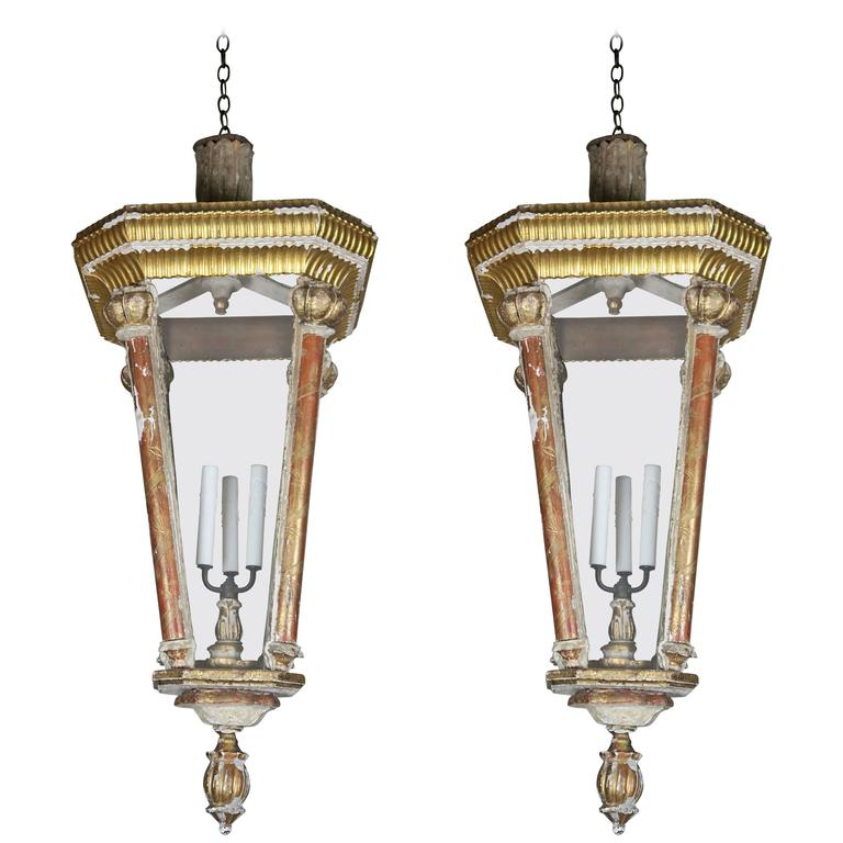 Pair of Monumental Italian Giltwood Lanterns