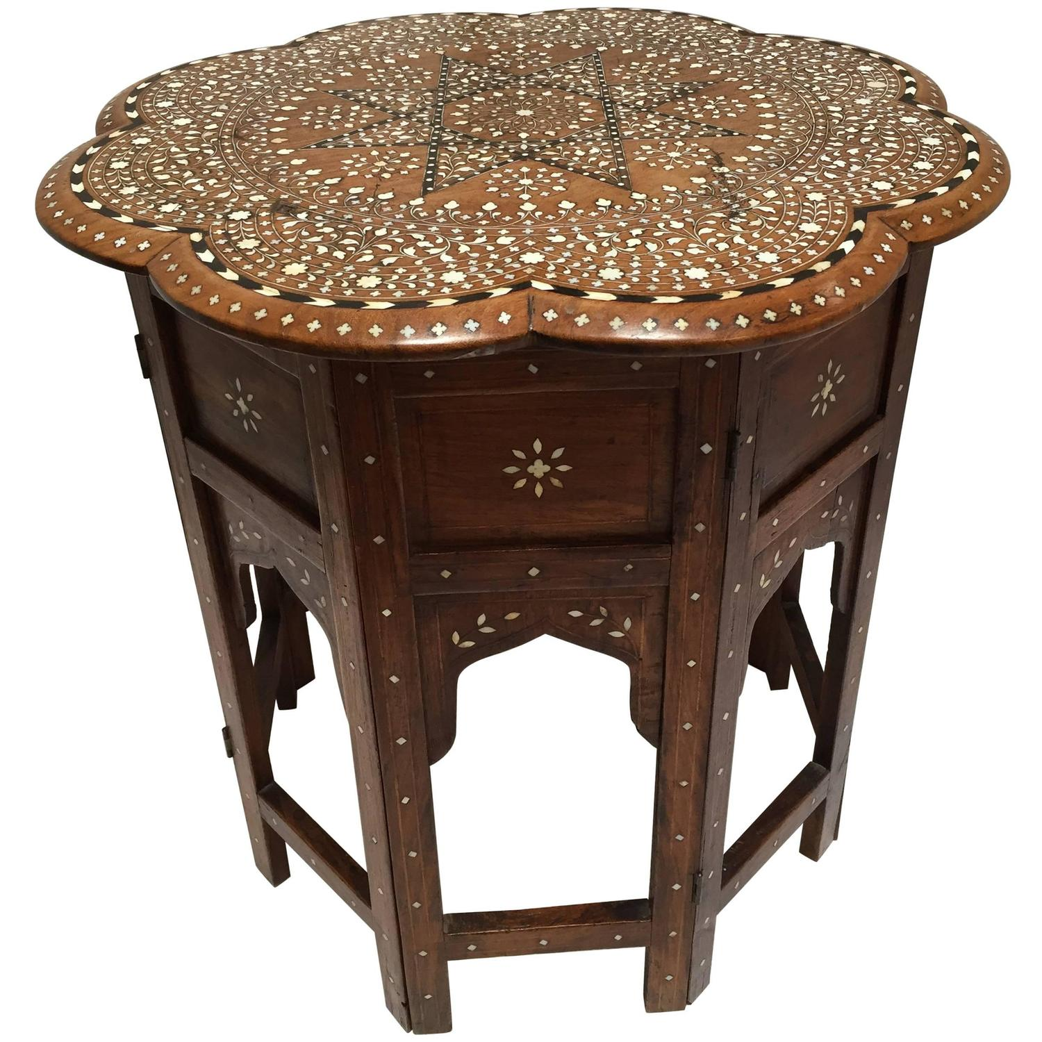 Anglo Indian Inlaid Octagonal Side Table