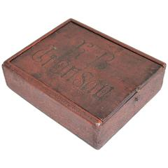 Early 18th Century Original Red Painted Candle Slide Top Box