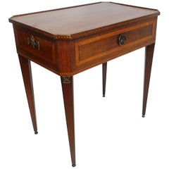 Neoclassical Mahogany and Satinwood Inlay Tray Top Table Dutch, 19th Century