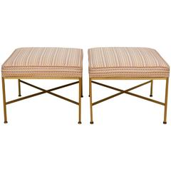 Pair of Paul McCobb Brass Ottomans with Original Fabric