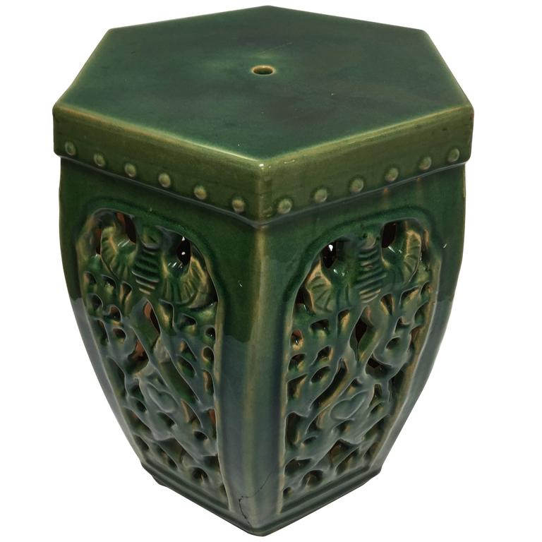 Green Chinese Ceramic Garden Stool For Sale