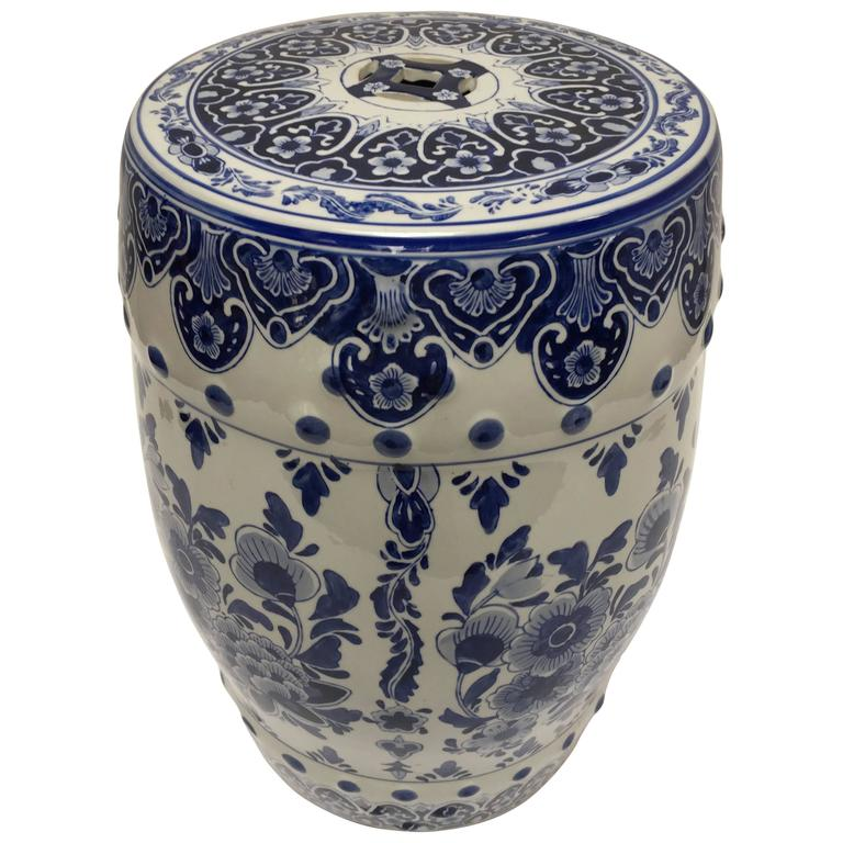 Blue And White Chinese Ceramic Garden Stool For Sale At