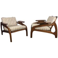 Pair of Model 1209C Walnut Lounge Chairs by Adrian Pearsall /Craft Associates