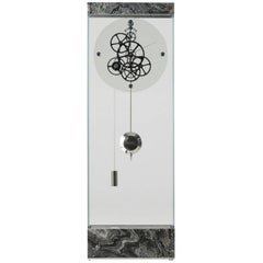 Brushed Silver Wave Adagio Contemporary Teckell Takto Mechanical Floor Clock