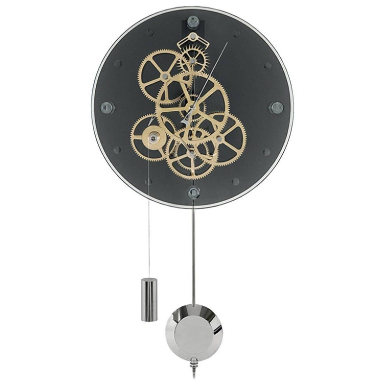 Vivace Teckell Takto Contemporary Mechanical Glass Wall Clock With Pendulum For Sale At 1stdibs