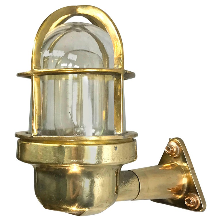 Late Century Industrial Brass 90deg Wall Light, Glass Dome & Cage, Edison Bulb