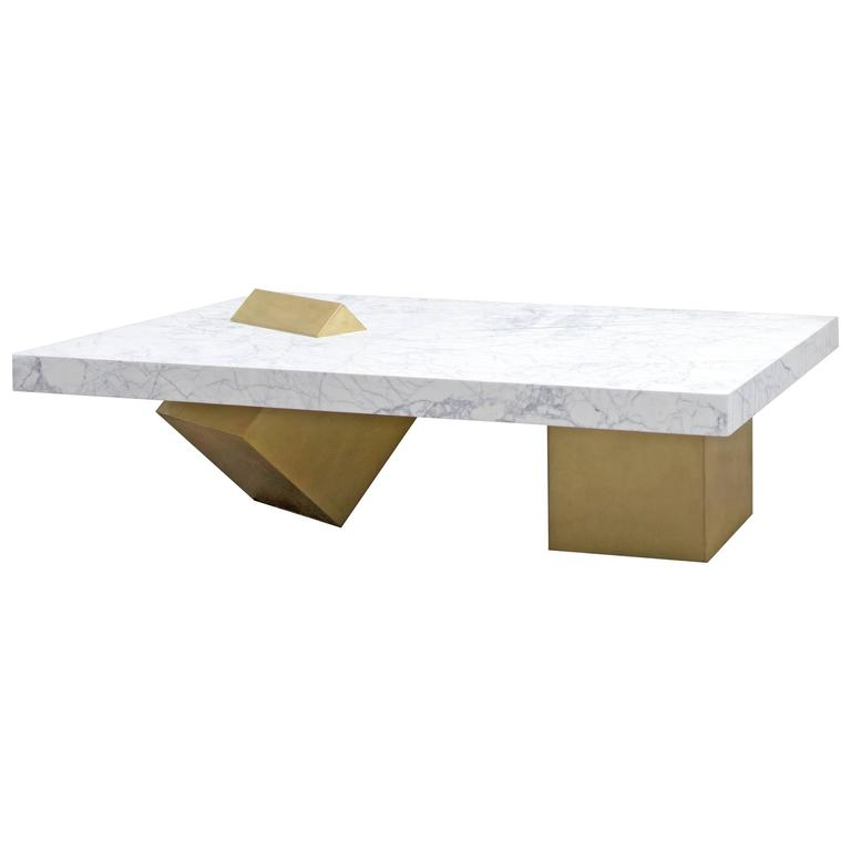 Coexist Marble And Brass Coffee Table By Slash Objects Made In Usa For