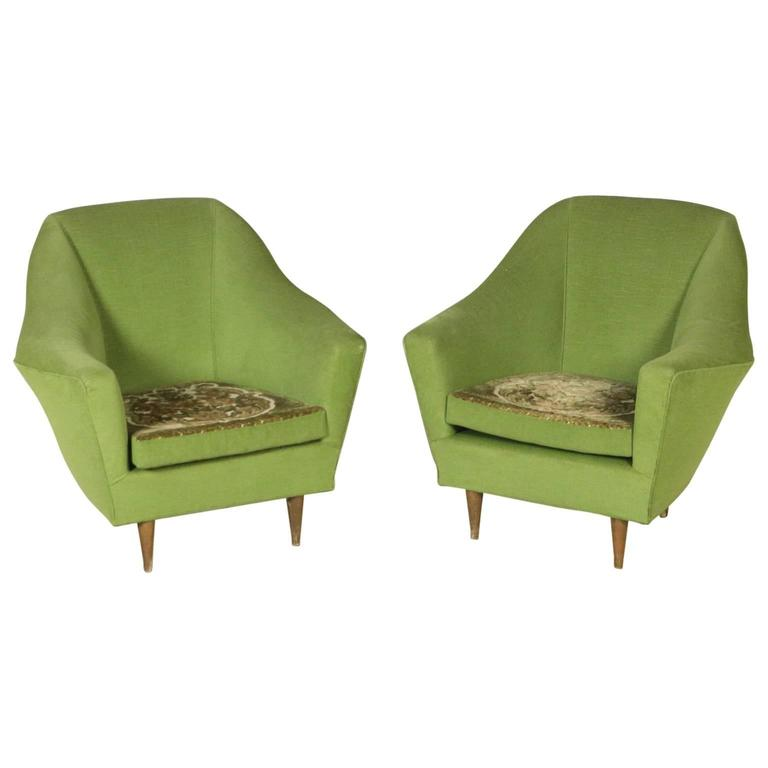 Two Armchairs Foam Velvet Double Face Cushion Vintage, Italy, 1950s