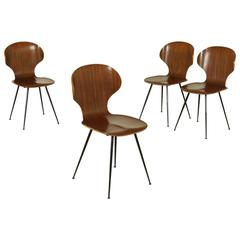 Group Four Chairs by Carlo Ratti for Industria Legni Curvati, Italy, 1950s