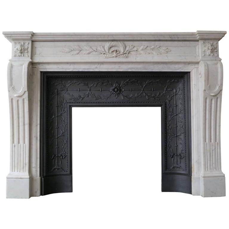 Antique Marble French Louis Xvi Style Fireplace Mantel With Cast Iron Insert At 1stdibs