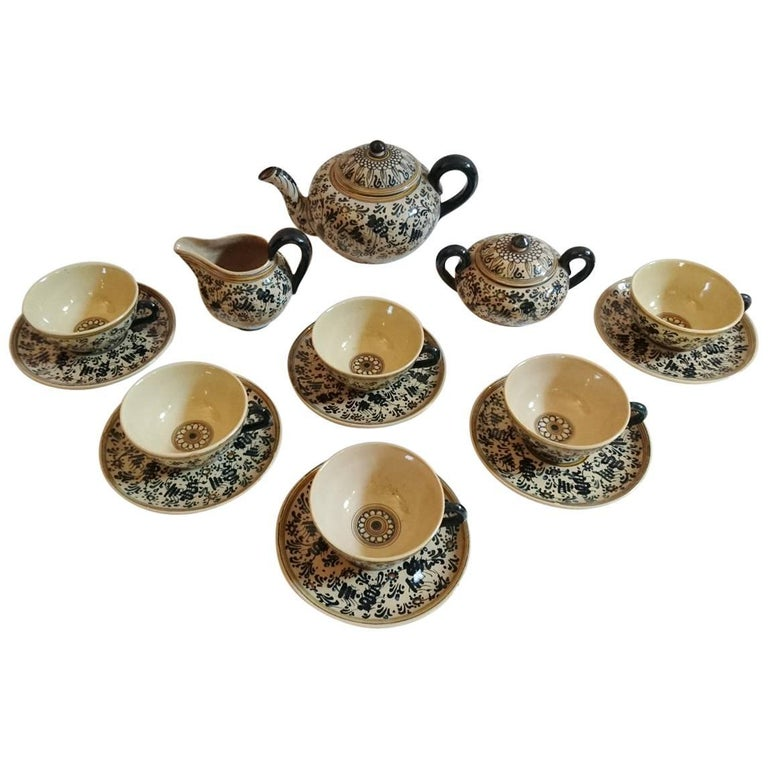 Molaroni Pesaro Teapot and Cups Set, Italy, 1930s