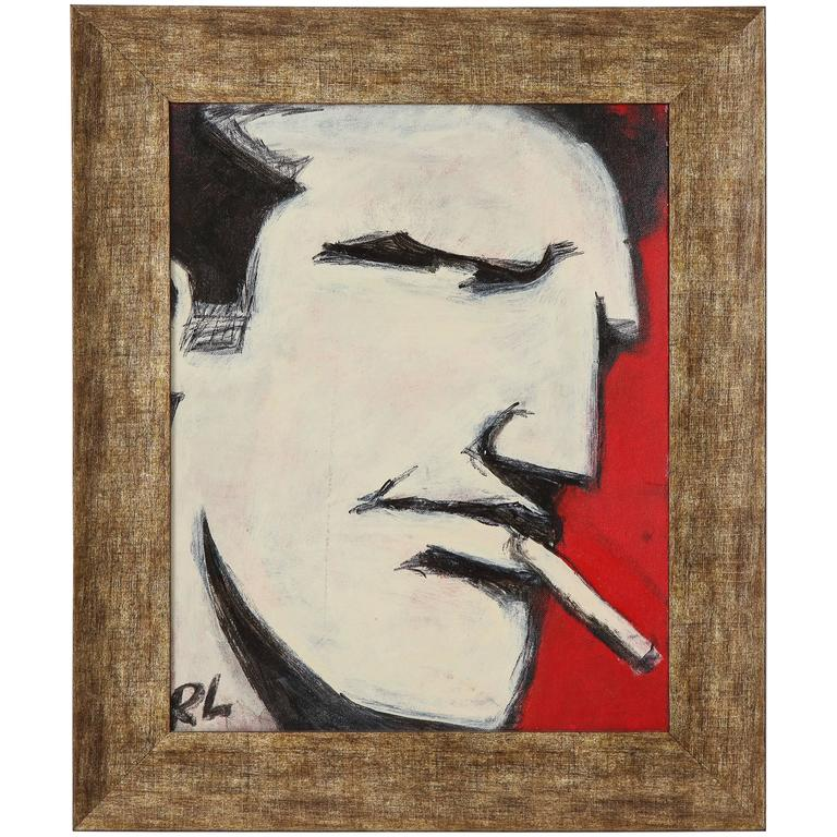Robert Loughlin Brute Painting Outsider Art Red Black White Signed USA, 2000s