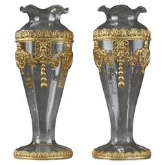 Late 19th Century Pair of Crystal and Brass Vases in Baccarat Style