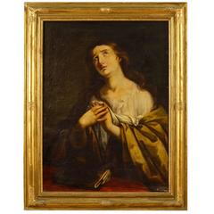 19th Century French Religious Oil Painting Mary Magdalene