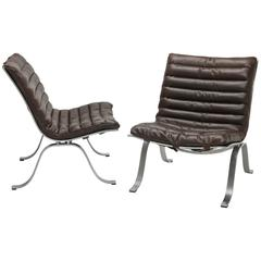 Brown Leather Arne Norell Ariet Lounge Chairs