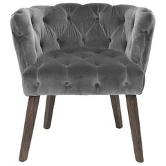 Home Capiton Chair in Grey, Purple or Black Velvet Fabric