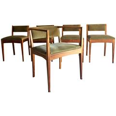 Edward Barnsley Dining Chairs Set of Five Stamped Dated 1978, Provenance