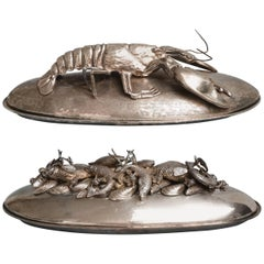 Two Silver Plated Hand-Hammered Franco Lagini Lobster and Mussel-Fish Platters