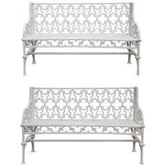 Pair of Gothic Style Cast Iron Garden Benches