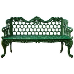 Cast Iron Green Garden Bench