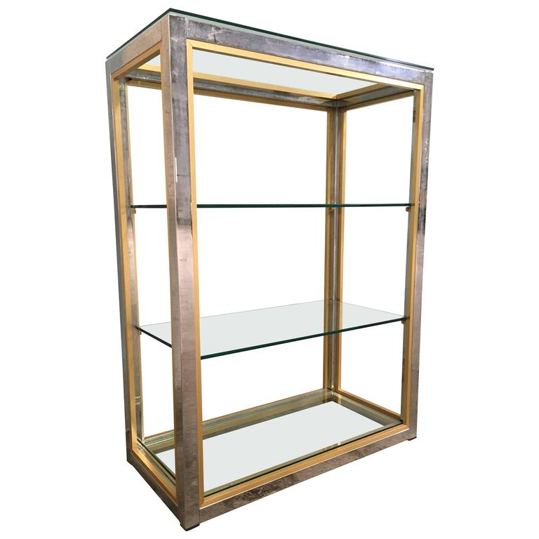 etagere in brass and chrome metal with glass shelves by. Black Bedroom Furniture Sets. Home Design Ideas