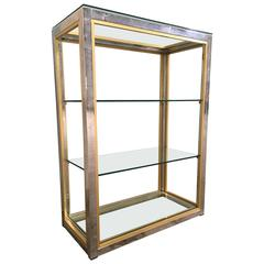 Italian 1970s Romeo Rega Brass and Chrome Étagère with Glass Shelves