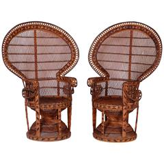 Pair of Mid-Century Asian Peacock Chairs