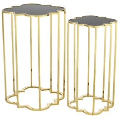 Clover Side Table Set of Two in Gold Finish