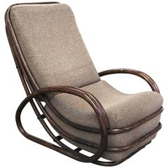 Italian Mid-Century Modern Bamboo Chair with Cushion from 1970s