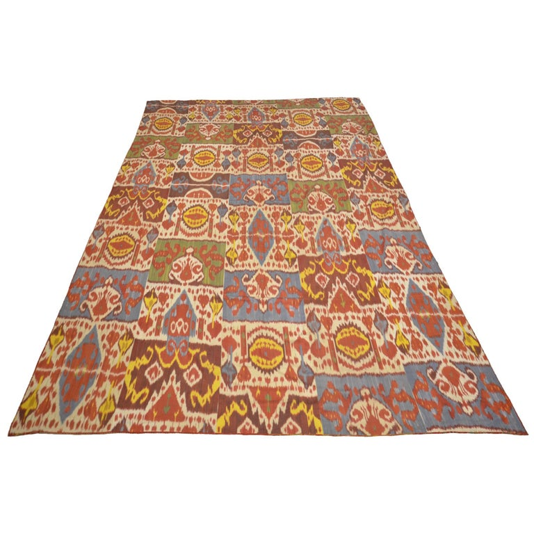 Ikat Textile Uzbekistan Region, Mid-20th Century with Typical Ikat Designs For Sale