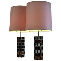 Stylish 1970s Pair of Chrome Table Lamps Pierre Cardin Style