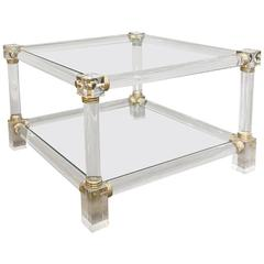 Mid-Century Modern Acrylic and Brass End Table