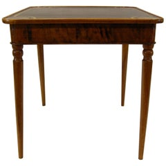 Antique Walnut French Card Table with Leather Top, circa 1830