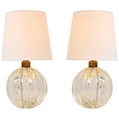 Pair of 1950s Clear Murano Ball Lamps