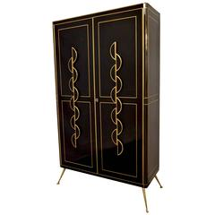 Late 1970s Italian Art Deco Design Brass and Black Glass Tall Cabinet or Bar