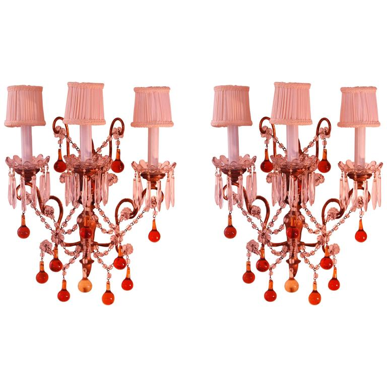 Pair of Crystal Two-Light Wall Sconces with Crystal Drops, Waterford ...