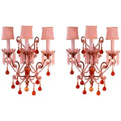 Pair of Italian Sconces with Amber and Clear Glass Beads, circa 1920
