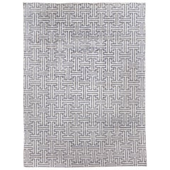 Contemporary Grey and Ivory Geometric Wool and Silk Rug