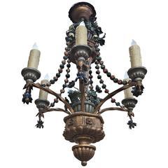 Antique Italian Polychrome Chandelier