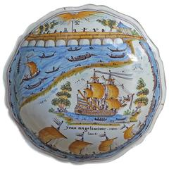 Jatte in Faience of Nevers 'France' with Nevers's Bridge, Dated 1800