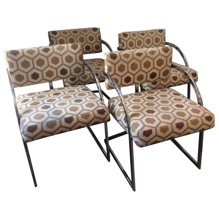 Four Mid-Century Modern Thayer Coggin Milo Baughman Chrome Dining Chairs 1