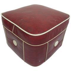 1950s Hassock/Ottoman in Maraschino Cherry Red Vinyl