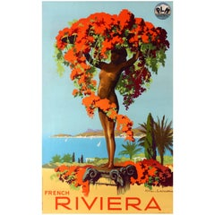 Original Vintage Paris Lyon Mediterranee Railway Travel Poster - French Riviera