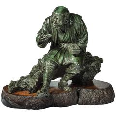 Tokyo School Bronze of a Peasant by Udagawa Kazuo