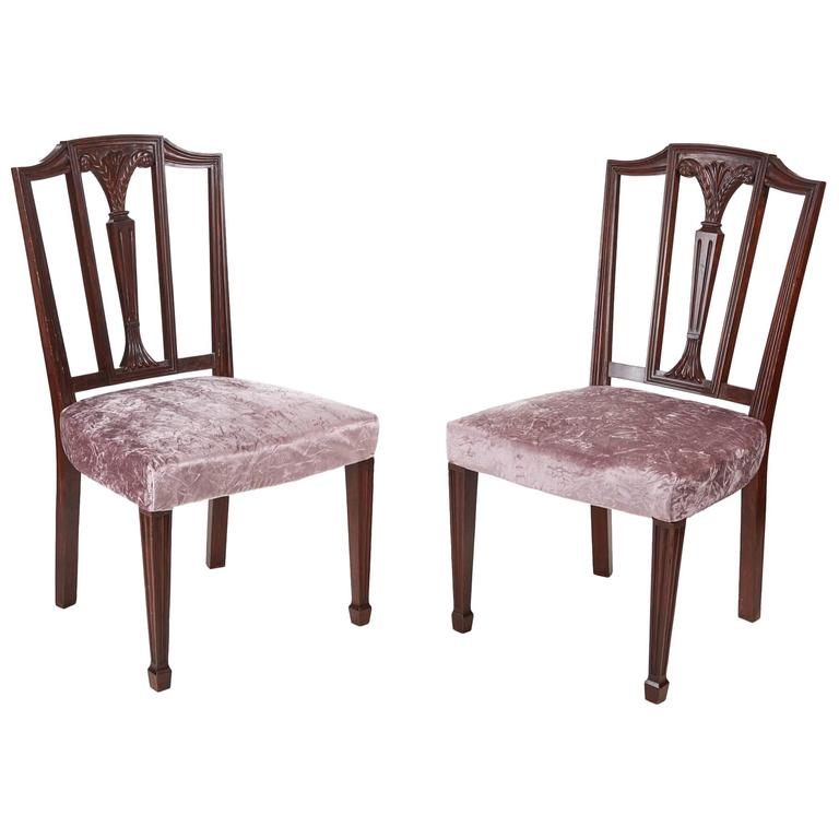 Pair of Mahogany Hepplewhite Side Chairs For Sale